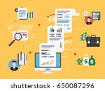 report with investment data and ... | Shutterstock .eps vector #650087296