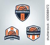 basketball sport logo design... | Shutterstock .eps vector #650088472