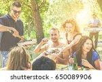 happy friends having fun at... | Shutterstock . vector #650089906