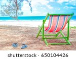 colorful beach chair on summer... | Shutterstock . vector #650104426