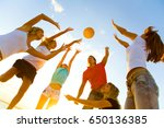 silhouettes of a group of young ... | Shutterstock . vector #650136385