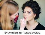stylist working in a beauty... | Shutterstock . vector #650139202