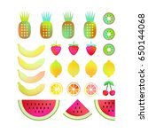 vector bright summer fruits for ... | Shutterstock .eps vector #650144068