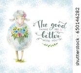 Watercolor Card. Cute Sheep...