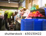 a lot of fruit is placed on the ... | Shutterstock . vector #650150422