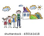 kids drawing happy family... | Shutterstock . vector #650161618