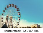 vintage ferris wheel over... | Shutterstock . vector #650164486