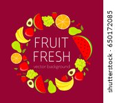 abstract fruit card  organic... | Shutterstock .eps vector #650172085