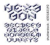hexagon alphabet made of... | Shutterstock .eps vector #650182192
