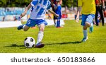 running youth soccer football... | Shutterstock . vector #650183866