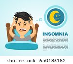 insomnia infographic.young man... | Shutterstock .eps vector #650186182