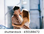 man and woman posing on the... | Shutterstock . vector #650188672