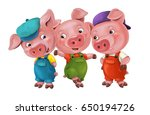 cartoon isolated young pigs in... | Shutterstock . vector #650194726