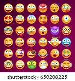 set of cute emoticons on dark... | Shutterstock .eps vector #650200225