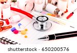 stethoscope medical ampules... | Shutterstock . vector #650200576
