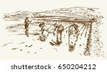 asian farmers working on field. ... | Shutterstock .eps vector #650204212