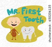 cartoon baby boy and mr. first... | Shutterstock .eps vector #650206135
