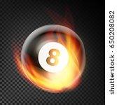 billiard ball in fire vector... | Shutterstock .eps vector #650208082