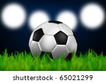 football in the green grass on spotlight background - stock photo