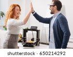 joyful delighted colleagues... | Shutterstock . vector #650214292