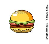 delicious hamburger fast food... | Shutterstock .eps vector #650215252