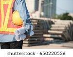 construction engineer hodling... | Shutterstock . vector #650220526