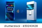 smart fridge. the smartphone... | Shutterstock .eps vector #650243428