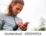 athletic woman before start... | Shutterstock . vector #650244916