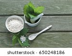 Small photo of Homeopathy medicine,scale, bottle . urtica urens in mortal with spoon