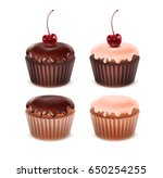 vector set of different muffins ... | Shutterstock .eps vector #650254255