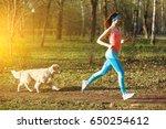 Stock photo woman with retriever for jog 650254612