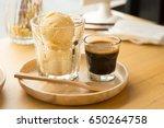 affogato coffee with vanilla... | Shutterstock . vector #650264758