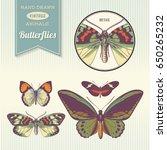 set of hand drawn vintage... | Shutterstock .eps vector #650265232