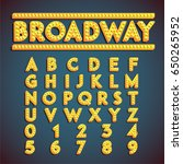 yellow 'broadway' font with... | Shutterstock .eps vector #650265952