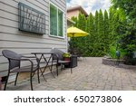 bistro chairs and table on... | Shutterstock . vector #650273806