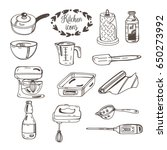 vector set of kitchen icons in... | Shutterstock .eps vector #650273992