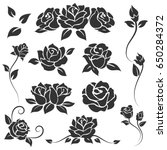 hand drawn roses isolated on... | Shutterstock .eps vector #650284372