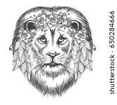 boho style sketch lion. vector... | Shutterstock .eps vector #650284666