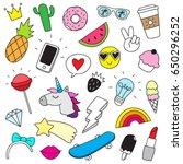 funny doodle set  | Shutterstock .eps vector #650296252