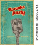 karaoke retro party invitation...   Shutterstock .eps vector #650301766
