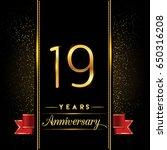 nineteen years anniversary... | Shutterstock .eps vector #650316208