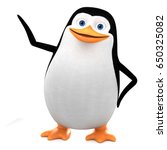 Cheerful Penguin Points To An...