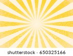 horizontal vector illustration of a grunge background of yellow color. divergent rays. the simulation of old printed materials. | Shutterstock vector #650325166