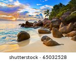 Stock photo tropical beach at sunset nature background 65032528