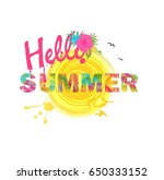 hello summer lettering with... | Shutterstock . vector #650333152