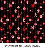 christmas black wallpaper with... | Shutterstock . vector #650340382
