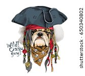 portrait of a bulldog in pirate ... | Shutterstock .eps vector #650340802