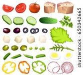 salad ingredients. set of hand... | Shutterstock .eps vector #650342665