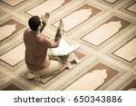 religious muslim man praying... | Shutterstock . vector #650343886