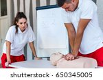 cpr class with instructors... | Shutterstock . vector #650345005